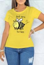 T-shirt jaune à manches courtes et col rond imprimé d'été