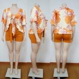 Ensemble chemisier et short à manches courtes orange imprimé d'été grande taille