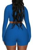 Летний синий кроп-топ на молнии с длинными рукавами и байкерскими шортами в комплекте из 2 предметов
