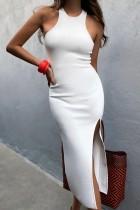 Vestido largo sin mangas con abertura lateral sin mangas de verano blanco