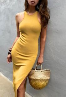 Vestido largo sin mangas con abertura lateral sin mangas amarillo de verano