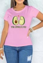 T-shirt rose à manches courtes et col rond imprimé d'été