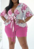 Plus Size Summer Print Pink Short Sleeve Blouse and Shorts Matching Set