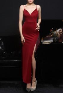 Summer Red Side Slit Tassels Strap Evening Dress