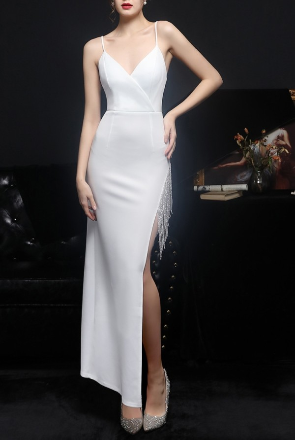 Summer White Side Slit Tassels Strap Evening Dress