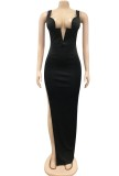 Summer Black Sexy Side Slit Wide Strap Long Evening Dress