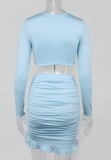 Summer Blue Long Sleeve Crop Top and Ruched Mini Skirt 2PC Matching Set