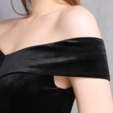 Summer Velvet Upper Strapless Sequin Black Mermaid Evening Dress