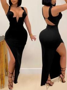 Summer Black Sexy Side Slit Wide Strap Long Evening Dress