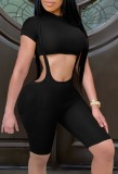Summer Black Short Sleeve Crop Top and Matching Suspender Shorts 2PC Set