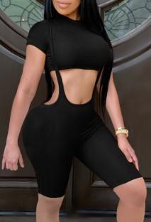 Summer Black Short Sleeve Crop Top and Matching Suspender Shorts 2PC Set
