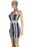 Summer Colorful Stripes Sexy Bandeau Top and Shorts 2 Piece Matching Set