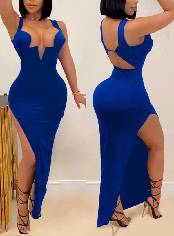 Summer Blue Sexy Side Slit Wide Strap Long Evening Dress