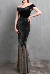 Vestido de noche de sirena negro con lentejuelas sin tirantes superior de terciopelo de verano