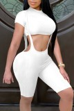 Summer White Short Sleeve Crop Top and Matching Suspender Shorts 2PC Set