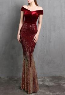 Vestido de noche de sirena roja con lentejuelas sin tirantes superior de terciopelo de verano