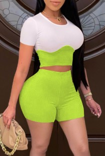 Summer Block Color Tight Crop Top and High Waist Shorts 2PC Matching Set
