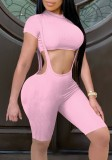 Summer Pink Short Sleeve Crop Top and Matching Suspender Shorts 2PC Set