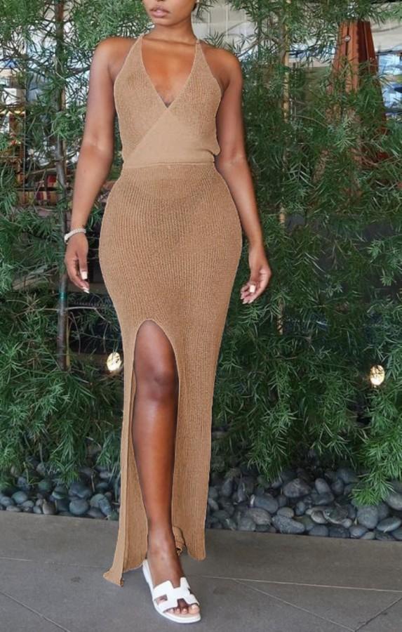 Yazlık Örme Haki Yandan Yırtmaçlı Askılı Halter Uzun Elbise