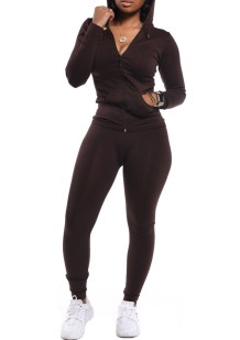 Spring Tight Long Sleeve Chocorate Hoody Tracksuit