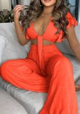 Summer Casual Orange Knotted Crop Top and High Waist Wide Pants 2PC Matching Set