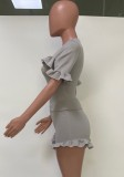 Summer Casual Grey Ruffle Shirt and Shorts 2 Piece Matching Set
