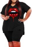 Yaz Büyük Beden Siyah Baskı Günlük Gömlek ve Şort 2'li Set