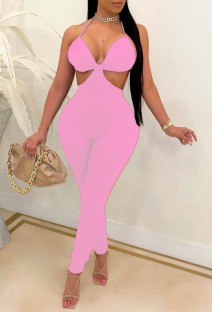 Summer Pink Sexy Cut Out Halter Bodycon Jumpsuit