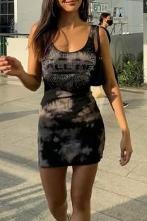 Summer Casual Black Print Mini Tank Dress