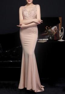 Summer Pink Lace Upper Sleeveless V-Neck Mermaid Evening Dress