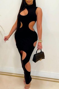 Summer Black Cut Out Sleeveless Turtleneck Sexy Midi Dress