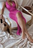 Yaz Örme Pembe Yan Yırtmaçlı Sarılı Halter Uzun Elbise