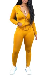 Spring Tight Long Sleeve Yellow Hoody Tracksuit