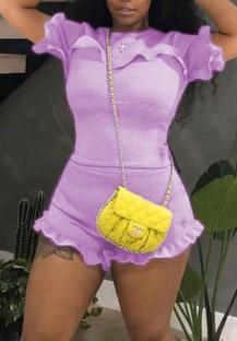 Summer Casual Purple Ruffle Shirt and Shorts Conjunto de 2 piezas a juego