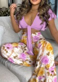 Summer Casual Floral Purple Crop Top annodato e pantaloni larghi a vita alta 2PC Set coordinato