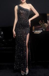 Summer Black Side Slit One Shoulder Sequin Evening Dress