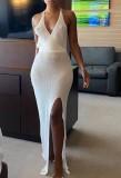 Yazlık Örme Beyaz Yan Yırtmaçlı Sarılı Halter Uzun Elbise