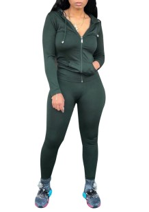 Spring Tight Long Sleeve Green Hoody Tracksuit