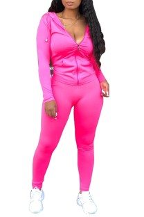 Spring Tight Long Sleeve Pink Hoody Tracksuit