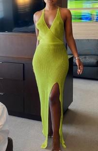 Yaz Örme Yeşil Yandan Yırtmaçlı Askılı Halter Uzun Elbise