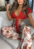 Summer Casual Floral Red Knotted Crop Top and High Waist Wide Pants 2PC Matching Set