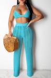 Yaz Sahil Mavi Kroşe Sütyen ve Pantolon 2'li Eşleşen Set