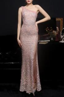 Summer Pink Side Slit One Shoulder Sequin Evening Dress