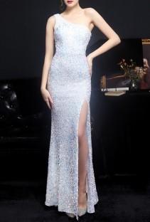 Summer White Side Slit One Shoulder Sequin Evening Dress