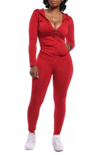 Spring Tight Long Sleeve Red Hoody Tracksuit
