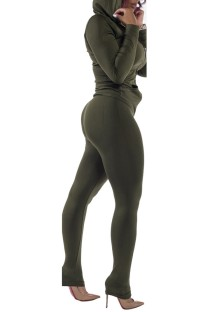 Spring Tight Long Sleeve Army Green Hoody Tracksuit