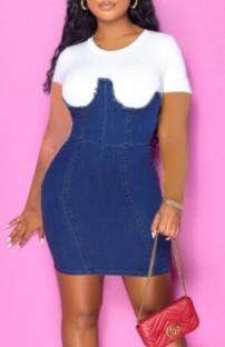 Yaz Beyaz ve Mavi Yama Denim Bodycon Elbise