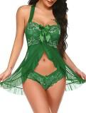 Conjunto de lingerie de 2 peças de babydoll e calcinha verde de verão