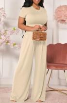 Sommer Casual Beige Crop Top und High Waist Wide Pants Matching Set