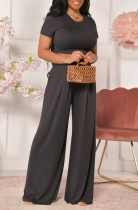 Sommer Casual Black Crop Top und High Waist Wide Pants Matching Set